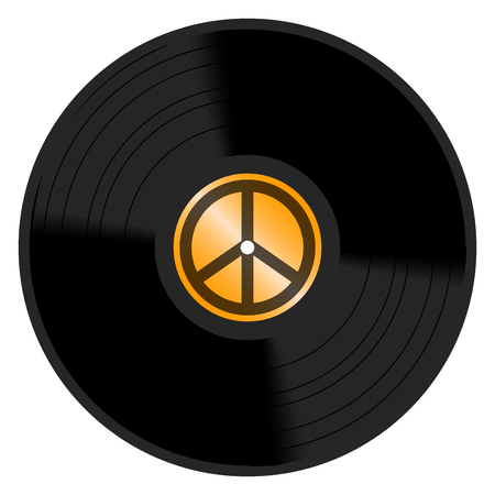 Isolated vinyl icon in colored illustration.