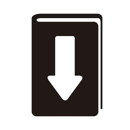 E-book download graphic design in black and white illustration.
