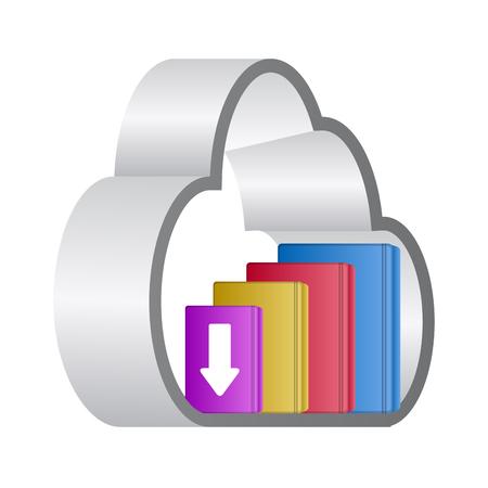 E-book download graphic design in colored illustration.
