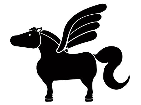 Cute pegasus icon Vector illustration.