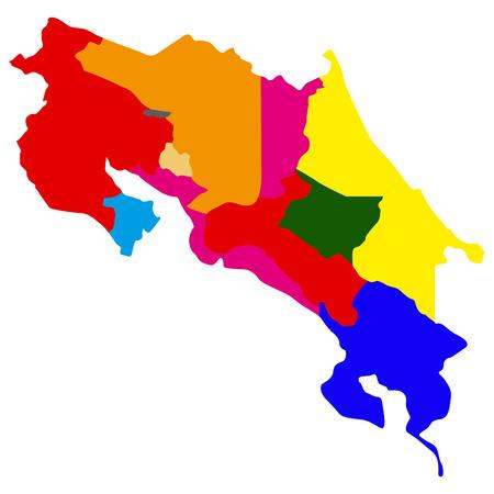 Political map of Costa Rica Illustration