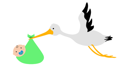 Stork carrying a baby in a bag Illustration