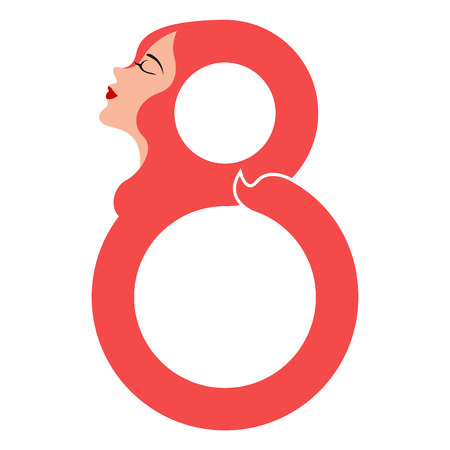 Girl avatar with number eight. Happy women day