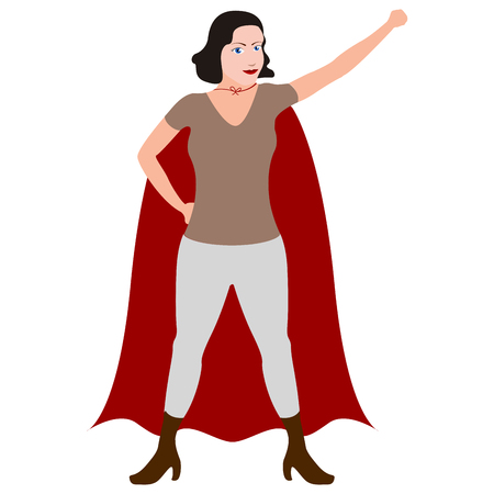 Female cartoon character wearing cape.