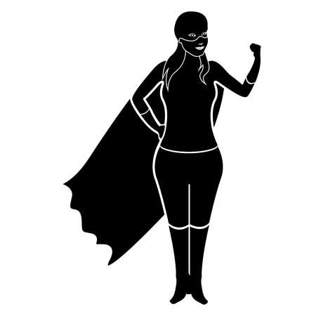 Isolated superwoman cartoon character silhouette. Vector illustration design
