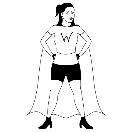 Isolated superwoman cartoon character sketch. Vector illustration design