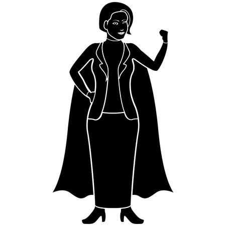 Isolated superwoman cartoon character silhouette. Vector illustration design