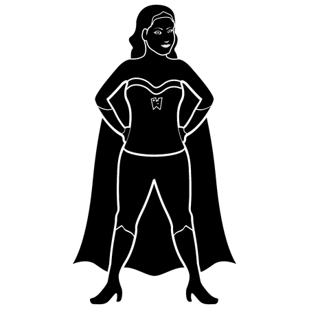 Superwoman cartoon character silhouette
