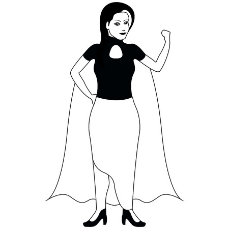 Isolated superwoman cartoon character sketch. Vector illustration design