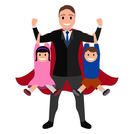 Superdad cartoon character with his kids