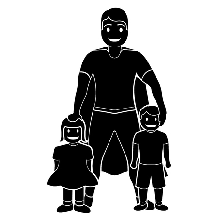 Superdad cartoon character silhouette
