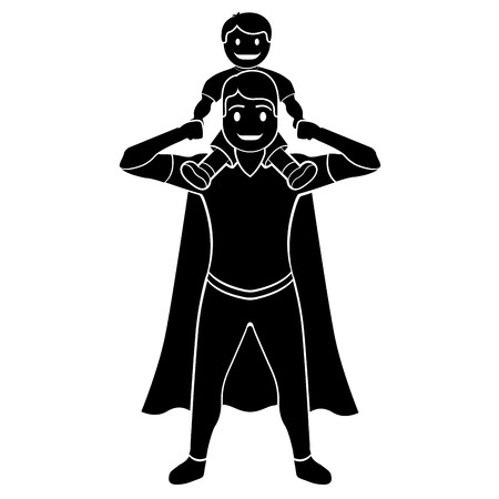 Superdad cartoon character silhouette isolated on plain background.