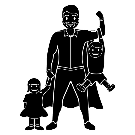 Superdad cartoon with kids character silhouette