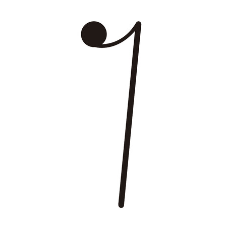 Isolated eighth rest note. Musical note Ilustração