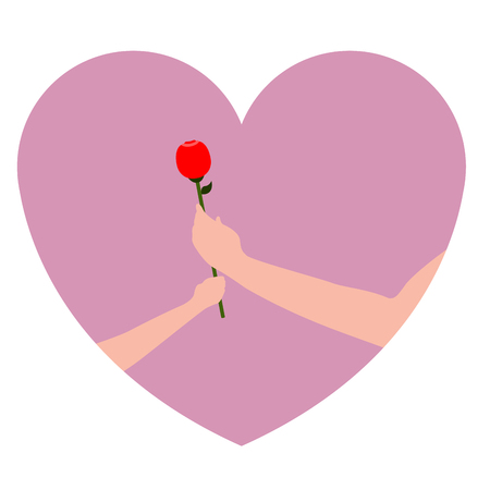 Pair of hands holding a rose. Vector illustration design