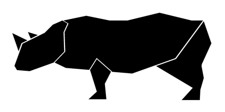 Abstract low poly rhino icon. Vector illustration design