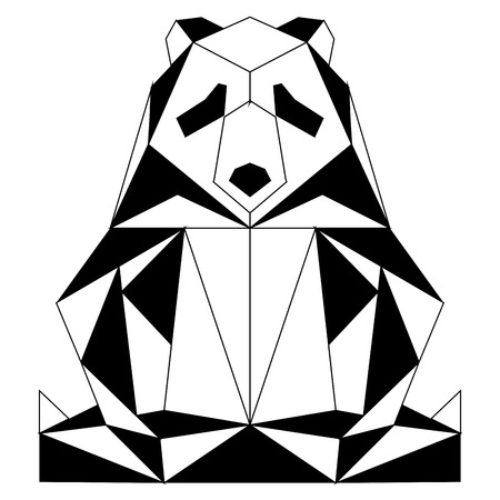 Abstract low poly panda icon