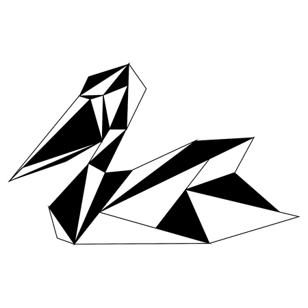 Abstract low poly pelican icon  イラスト・ベクター素材