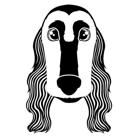 Silhouette of a cocker spaniel avatar Illustration