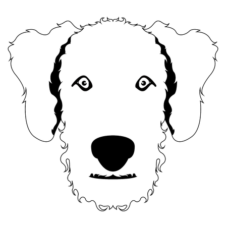 Silhouette of an airedale terrier avatar Illustration