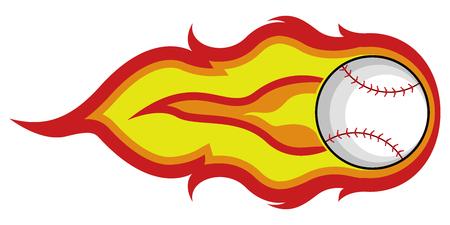 Baseball ball icon with flame. Vector illustration design