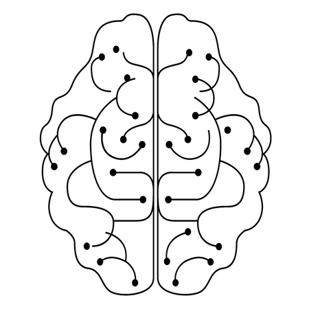 Isolated lineal brain design. Artificial intelligence concept. Vector illustration design