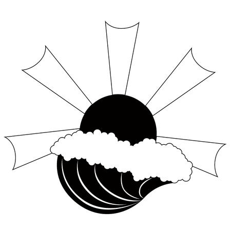 Isolated wave with a sun icon. Vector illustration design Ilustração