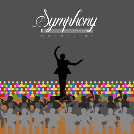 Orchestre isolé dans un théâtre. Conception d'illustration vectorielle