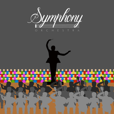Isolated orchestra in a theater. Vector illustration design Illustration