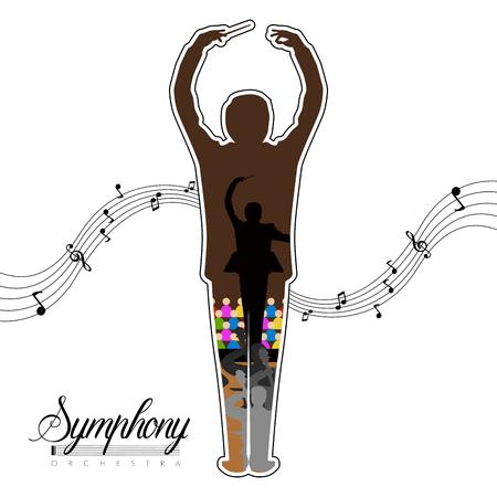 Geïsoleerde dirigent icoon met muzieknoten en orkest binnen. Vector illustratie ontwerp