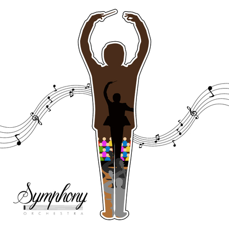 Isolated conductor icon with musical notes and orchestra inside. Vector illustration design
