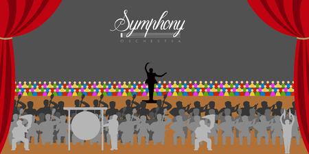Odosobniona orkiestra w teatrze. Projekt ilustracji wektorowych
