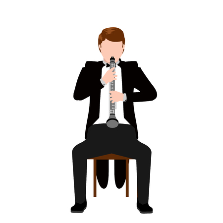 Isolated musician with a clarinet icon. Vector illustration design Vettoriali