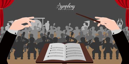 Geïsoleerde dirigent handen pictogram met orkest. Vector ilustration ontwerp Vector Illustratie