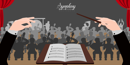 Isolierte Dirigentenhändeikone mit Orchester. Vektorillustrationsdesign Vektorgrafik