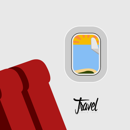 View from the inside of an airplane. Vector illustration design