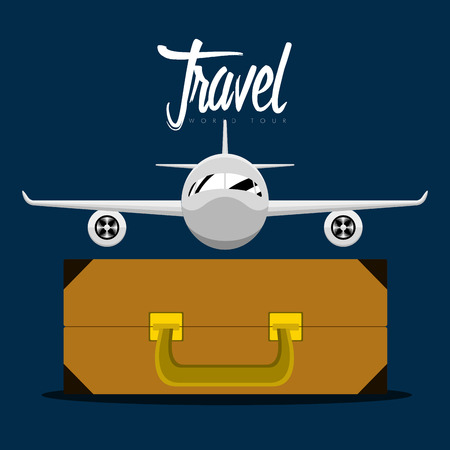 Travel bag and an airplane icon. Travel concept. Vector illustration design