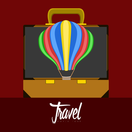 Travel bag and an air balloon icon. Travel concept. Vector illustration design