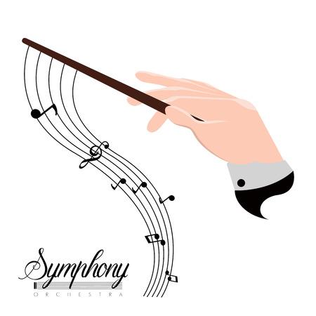 Ikona dłoni dyrektora orkiestry z nutami. Projekt ilustracji wektorowych