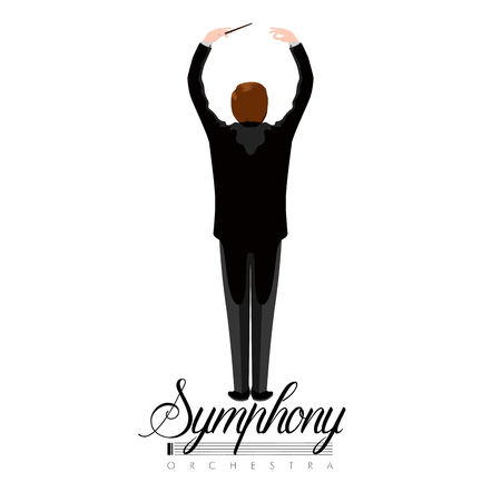 Geïsoleerde orkest directeur pictogram met tekst. Vector illustratie ontwerp Vector Illustratie