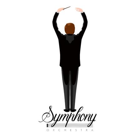 Ikona na białym tle reżyser orkiestry z tekstem. Projekt ilustracji wektorowych Ilustracje wektorowe
