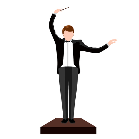 Isolated conductor image. Orchestra concept. Vector illustration design