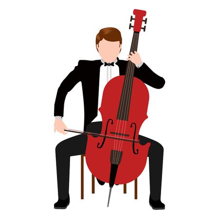 Isolated musician with a cello icon. Vector illustration design  イラスト・ベクター素材