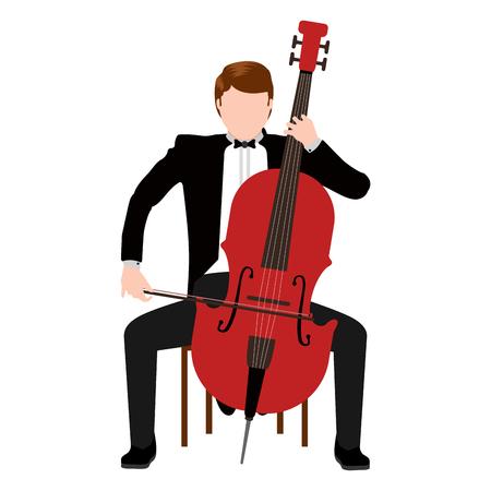 Musicien isolé avec une icône de violoncelle. Conception d'illustration vectorielle Vecteurs