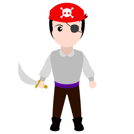 Kid with a pirate costume. Halloween. Vector illustration design Çizim