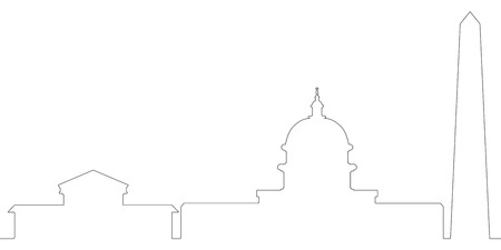 Continous line skyline of Washington D.C. Vector illustration design