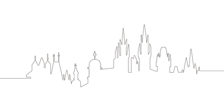 Continous line skyline of Prague. Vector illustration design