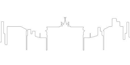 Continous line skyline of Berlin. Vector illustration design