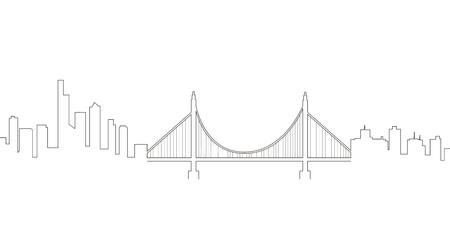 Continous line skyline of San Francisco. Vector illustration design