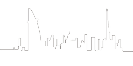 Continous line skyline of Dubai Illustration